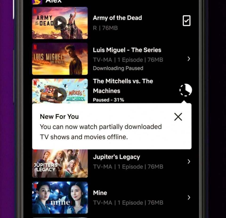 Netflix позволит досмотреть скачанное не до конца видео онлайн