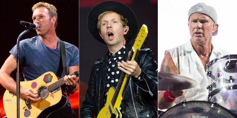 Beck, Крис Мартин и Чад Смит сыграли вместе на благотворительном концерте