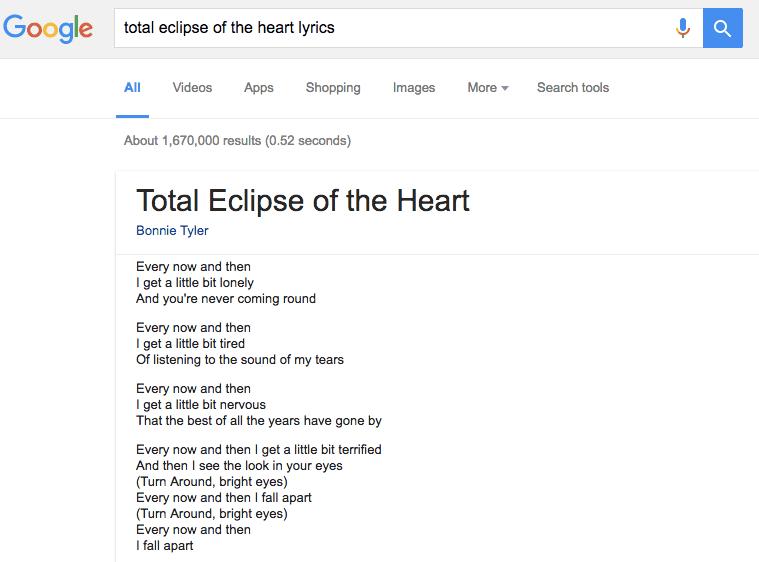 Google начал показывать тексты песен без перехода на сторонние ресурсы