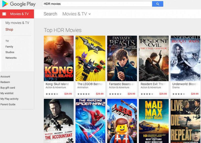 В Google Play появились фильмы в HDR