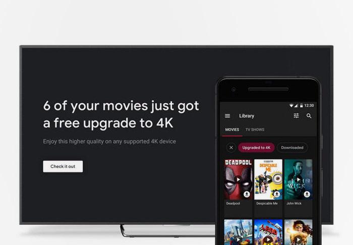 Google бесплатно заменит HD-фильмы в Play Movies на 4K