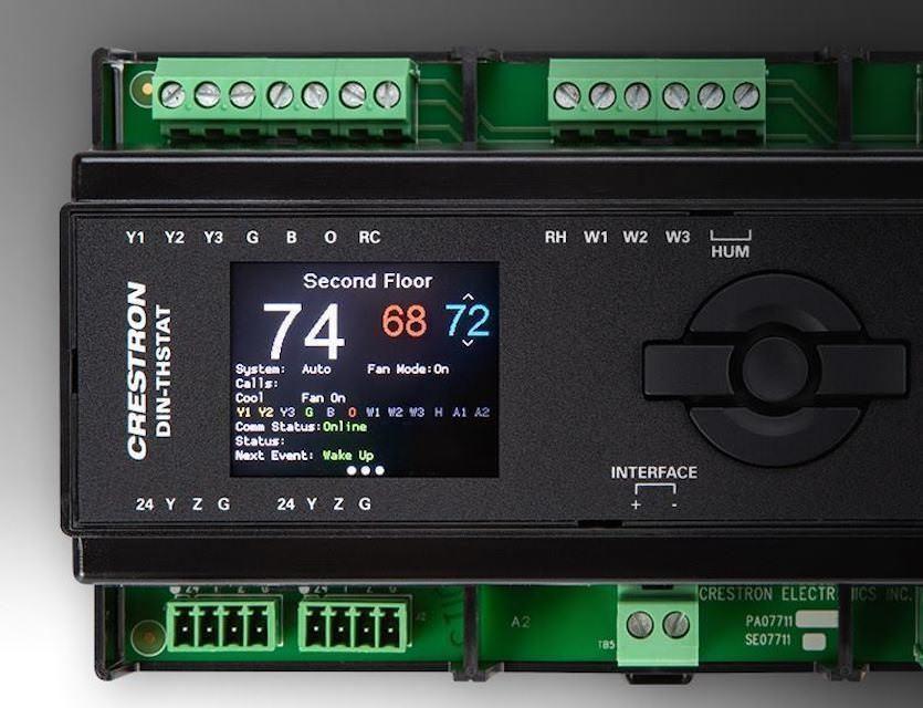 Термостат Crestron DIN-THSTAT: незаметная установка в специальный кабинет и дистанционное управление