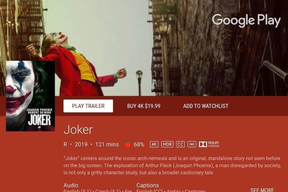 На сервисе Google Play Movies появились фильмы в Dolby Vision