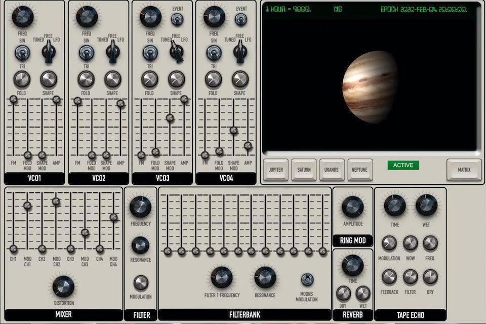 Quadrivium использует орбитальные данные планет и спутников для синтеза звука
