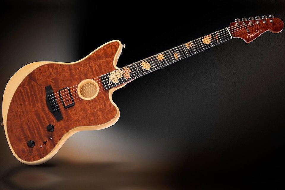 Гитара Fender Offset Acoustasonic The Trees: «древесина Страдивари» и пролежавшее 70 лет под водой красное дерево