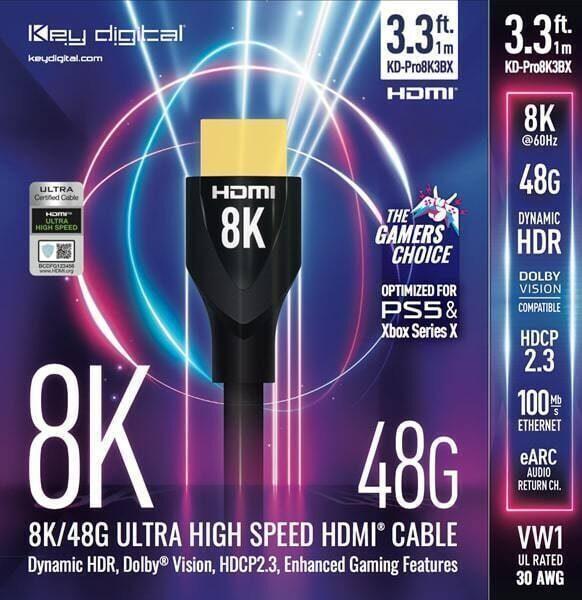 HDMI-кабели Key Digital KD-Pro8K: передача 8KHDR на 48 Гбит/с и соответствие требованиям игровых консолей нового поколения